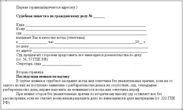 Вручается повестка суд - советы адвокатов и юристов